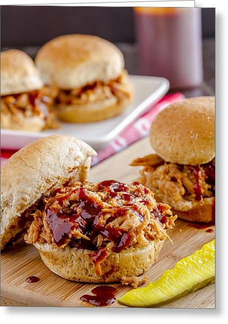 Pulled Pork Barbecue Greeting Cards - Slider Heaven Greeting Card by Teri Virbickis