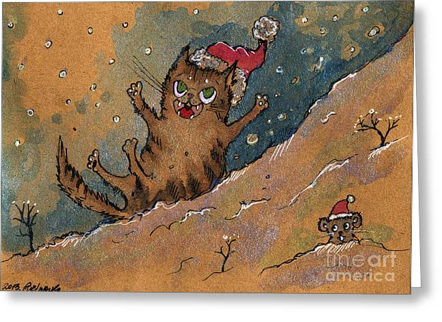 Cat Drawings Greeting Cards - Sliding Down The Hill Greeting Card by Angel  Tarantella