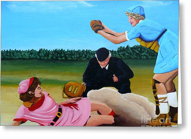 Baseball Uniform Paintings Greeting Cards - Sliding Into Home Base Greeting Card by Anthony Dunphy
