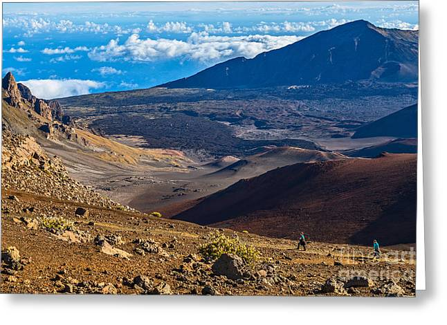 Above The Clouds Greeting Cards - Sliding Sands Trail - the summit of Haleakala Volcano in Maui. Greeting Card by Jamie Pham