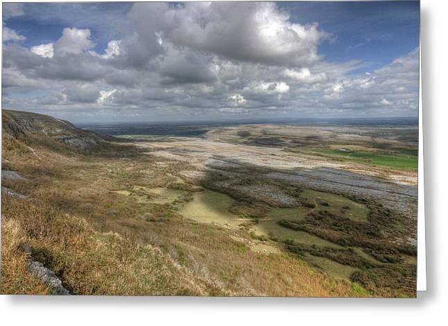 Irish Farm Greeting Cards - Slieve Carran View Greeting Card by John Quinn