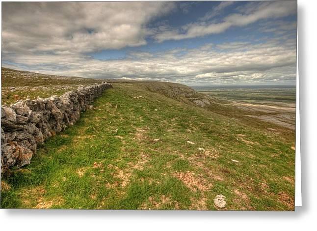 Irish Farm Greeting Cards - Slieve Carran wall Greeting Card by John Quinn
