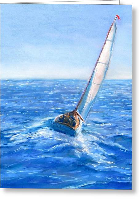 Ocean Sailing Pastels Greeting Cards - Slip Away Greeting Card by Jack Skinner