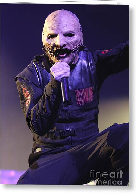 Slipknot Greeting Cards - Slipknot Singer Corey Taylor Greeting Card by Front Row  Photographs