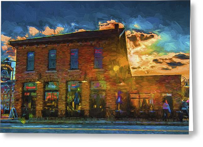 Baseball Photographs Greeting Cards - Slippery Noodle Inn Indianapolis Indiana painted Digitally Greeting Card by David Haskett