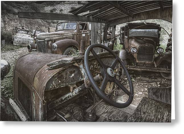 Rusted Cars Greeting Cards - Slipping Away Greeting Card by Sean Foster