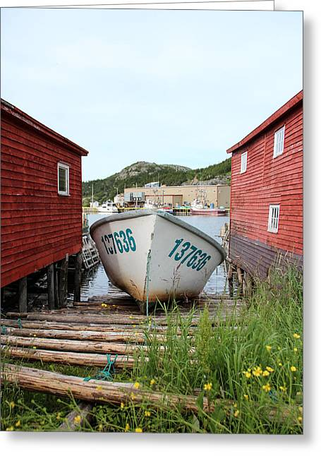 Shed Greeting Cards - Slipway Greeting Card by Crystal Fudge