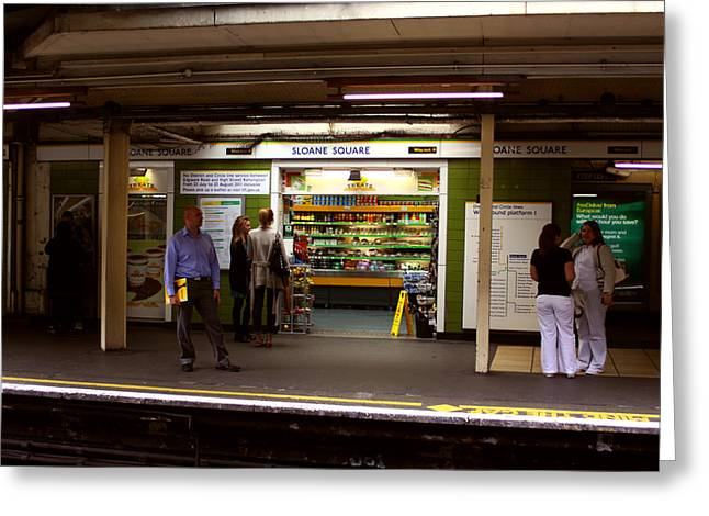 Sloane Square Treats Underground London Greeting Card by Niall McWilliam