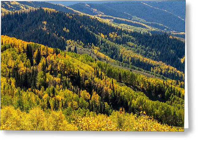 Scenic Drive Greeting Cards - Slopes of Color Greeting Card by Teri Virbickis