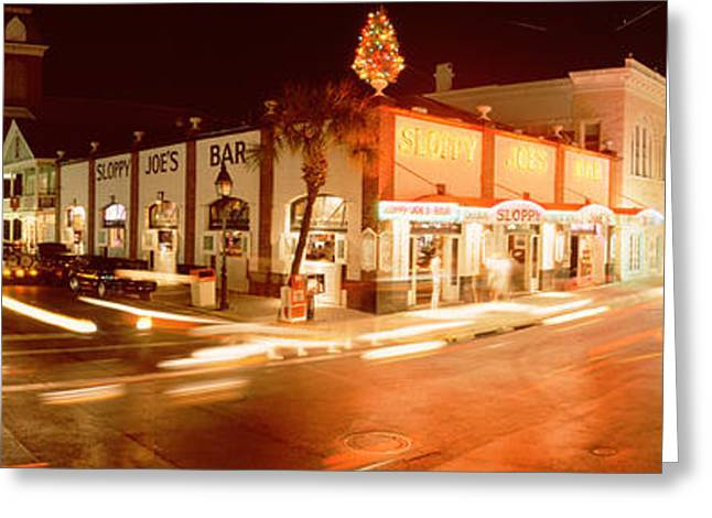 Night Life Greeting Cards - Sloppy Joes Bar, Duval Street, Key Greeting Card by Panoramic Images