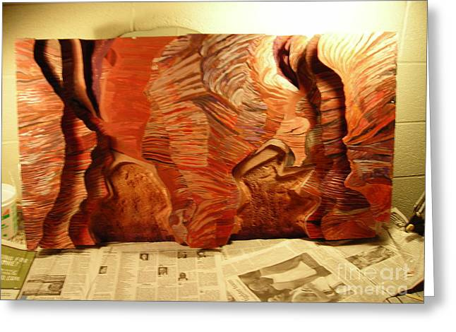 Fantasy Art Reliefs Greeting Cards - Slot Canyon 3D wall hanging Greeting Card by Mike Dendinger