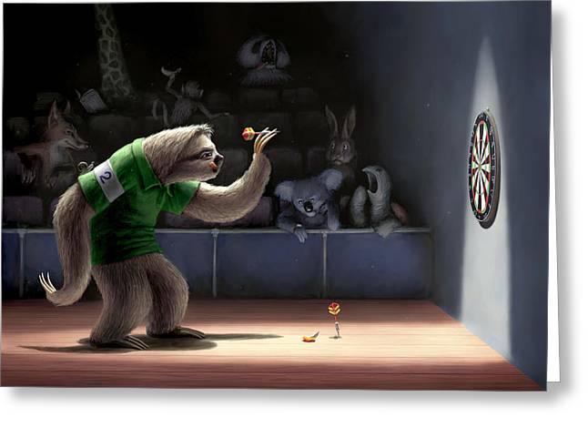 Sloth Digital Greeting Cards - Sloth Darts Greeting Card by Ben Hartnett