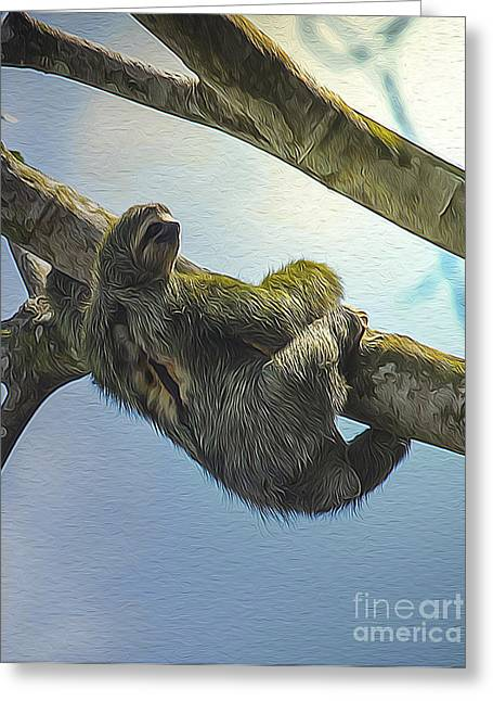 Sloth Digital Greeting Cards - Sloth Hanging in Jungle Greeting Card by Mark Van Martin