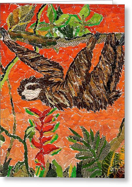 Sloth Greeting Cards - Sloth Just Hangin  Greeting Card by Brenda Brolly