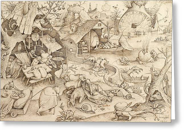 Pen And Ink Drawing Greeting Cards - Sloth Pieter Bruegel Drawing Greeting Card by