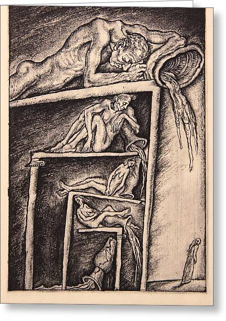 Drypoint Greeting Cards - Sloth. Series Seven Deadly Sins Greeting Card by Leonid Stroganov