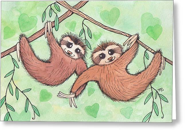 Sloth Valentines Greeting Card by Melissa Rohr Gindling