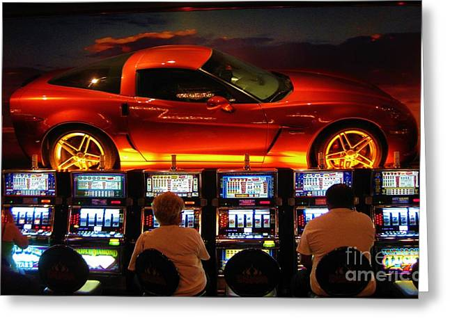 Halifax Art Galleries Greeting Cards - Slots PLayers in Vegas Greeting Card by John Malone