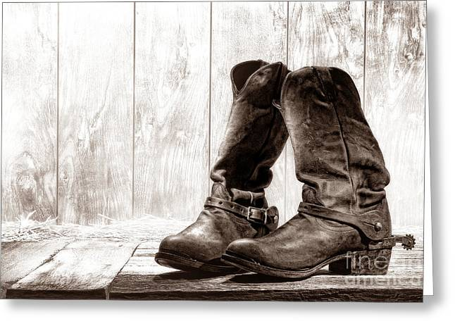 Black Boots Greeting Cards - Slouch Cowboy Boots Greeting Card by American West Legend By Olivier Le Queinec