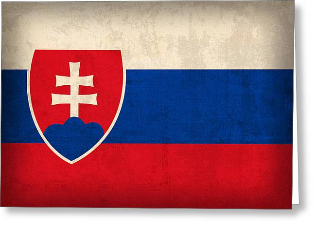 Slovakia Greeting Cards - Slovakia Flag Vintage Distressed Finish Greeting Card by Design Turnpike