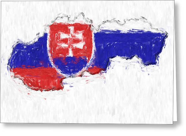 Slovakia Greeting Cards - Slovakia Painted Flag Map Greeting Card by Antony McAulay