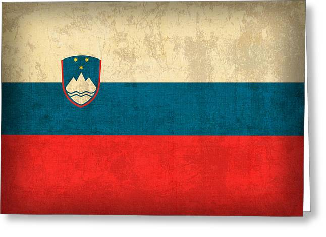 National Mixed Media Greeting Cards - Slovenia Flag Vintage Distressed Finish Greeting Card by Design Turnpike
