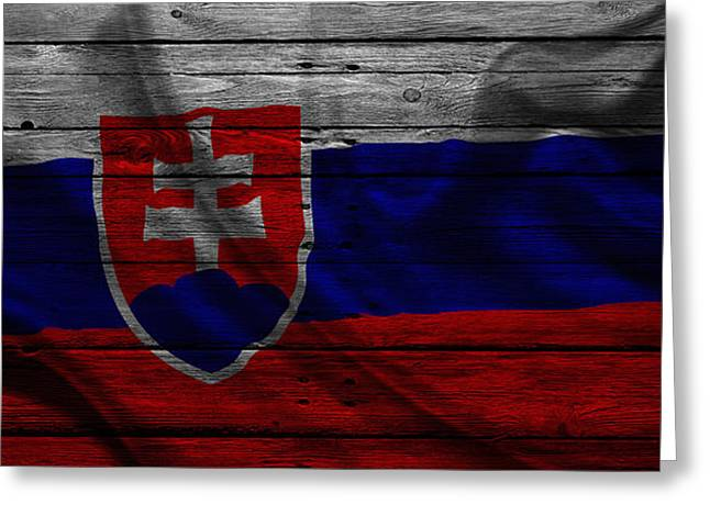 Flag Pole Greeting Cards - Slovakia Greeting Card by Joe Hamilton