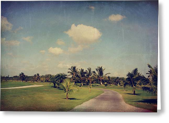 Tropical Golf Course Greeting Cards - Slow and Steady Greeting Card by Laurie Search