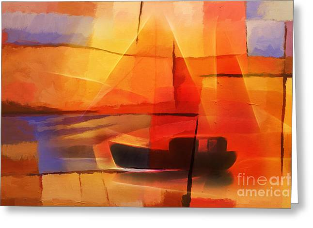 Abstract Field Greeting Cards - Slow Boat Greeting Card by Lutz Baar