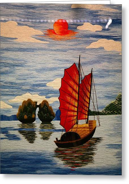 Sailboat Art Greeting Cards - Slow Boat to China Greeting Card by Mountain Dreams