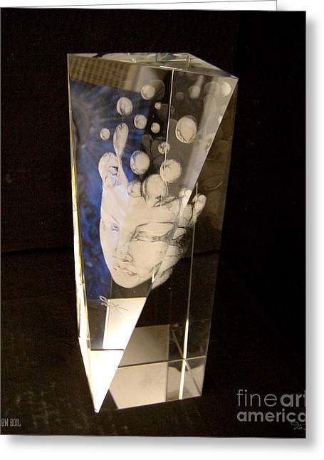 Loss Glass Art Greeting Cards - Slow Boil Crystal Sculpture 3 Greeting Card by Dia T