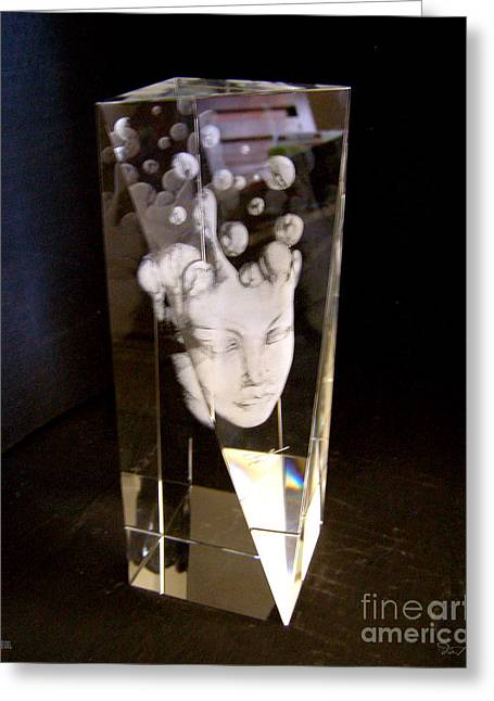 Surreal Glass Art Greeting Cards - Slow Boil Crystal Sculpture 9 Greeting Card by Dia T