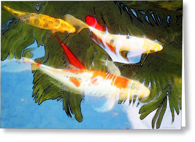 Slow Drift - Colorful Koi Fish Greeting Card by Sharon Cummings