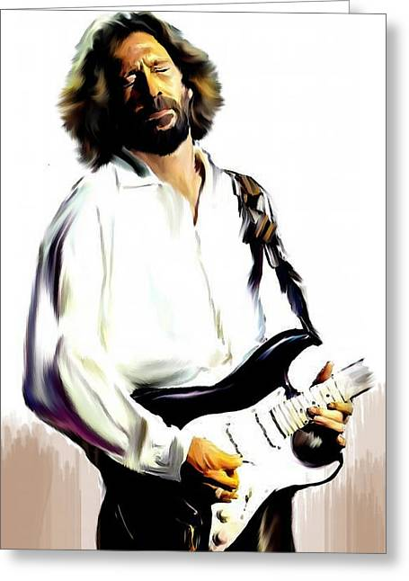 Artist Greeting Cards - Slow Hand  Eric Clapton Greeting Card by Iconic Images Art Gallery David Pucciarelli