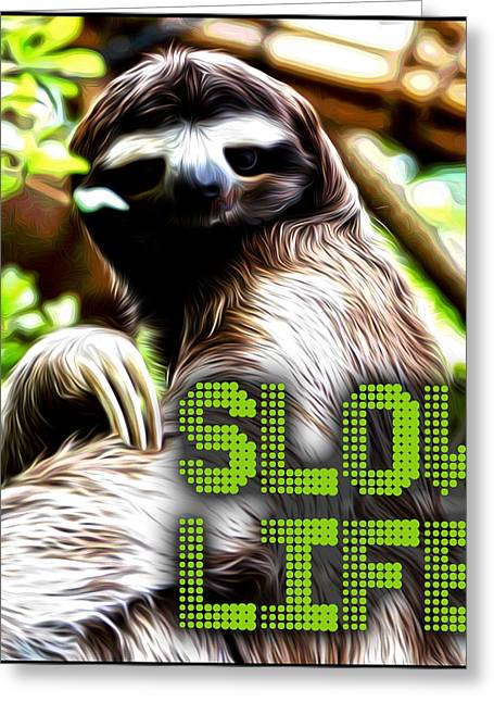Sloth Digital Greeting Cards - Slow Life Greeting Card by Troy Green