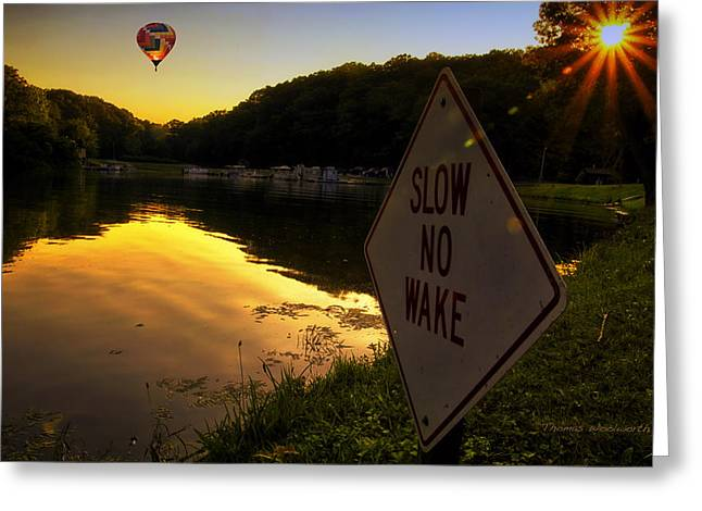 Argyle Digital Greeting Cards - Slow No Boat Wake Signage Greeting Card by Thomas Woolworth