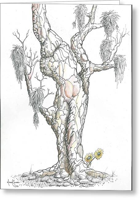 Surreal Landscape Drawings Greeting Cards - Slow Road Greeting Card by Grant Mansel-James