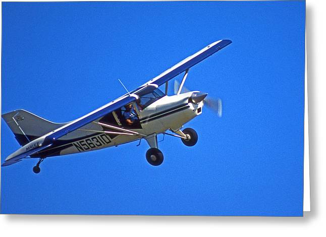 Piper Cub Greeting Cards - Slow Turn Greeting Card by Skip Willits
