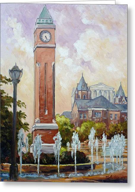 Slu Clock Tower In St.louis Greeting Card by Irek Szelag