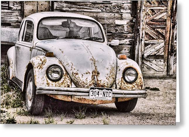 Vw Beetle Greeting Cards - Slug Bug Greeting Card by Ken Smith