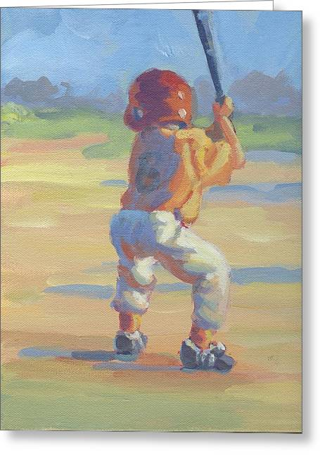 Baseball Field Paintings Greeting Cards - Slugger  Greeting Card by Lucelle Raad
