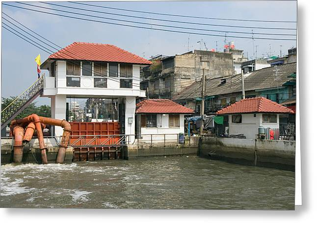 Sluice Greeting Cards - Sluice on a Canal in Bangkok Greeting Card by Artur Bogacki