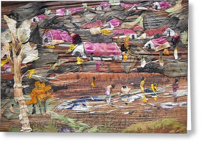 Slum On Hill  Greeting Card by Basant Soni