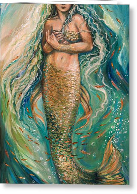 Sleeping Mermaid Greeting Cards - Slumbering Mermaid Greeting Card by Linda Olsen