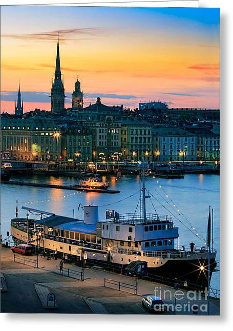 Facades Greeting Cards - Slussen By Night Greeting Card by Inge Johnsson