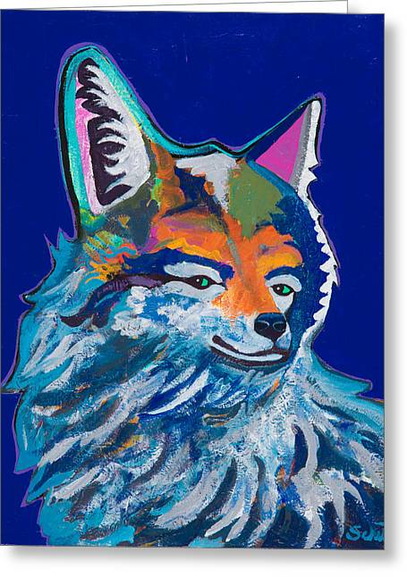 Western Wild Cats Paintings Greeting Cards - Sly Greeting Card by John Schultz