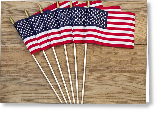 Small American Flags on Aged Wood  Greeting Card by Tom  Baker