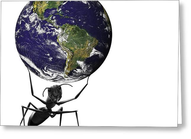 Picking Digital Art Greeting Cards - Small Ant Lifting Heavy Blue Earth Greeting Card by Dirk Ercken