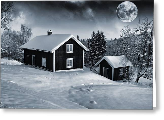 Winter Night Greeting Cards - Small Antique Cottages And Full Moon Greeting Card by Christian Lagereek