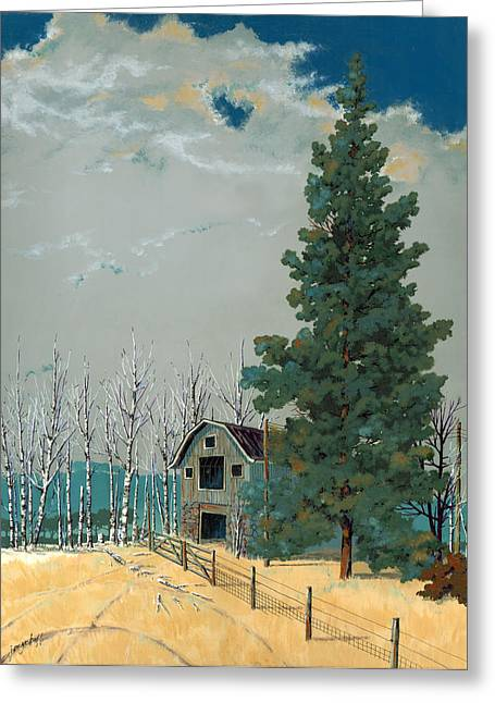 Pines Paintings Greeting Cards - Small Barn Big Pine Greeting Card by John Wyckoff